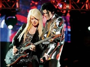 Orianthi playing with Michael Jackson